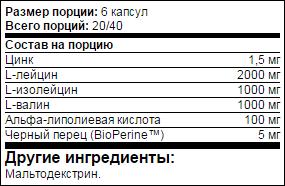 Состав добавки USN BCAA Syntho Amino Stack